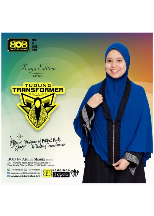 Tudung + Telekung Transformer BLUE NAVY